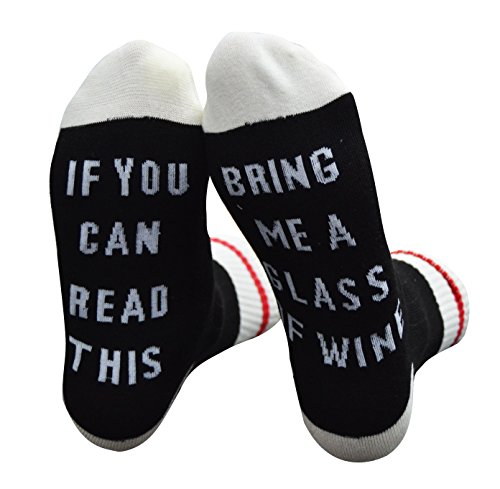 Mayskey Cotton Socks-IF You Can Read This PLEASE Bring Me Some Wine,Perfect Birthday or Christmas Gift for Wine Lovers,Friends and Family (Dark Grey Wine Socks)