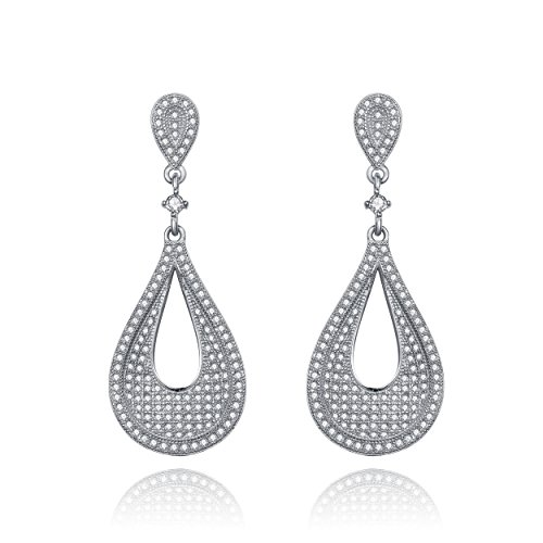 Bridal Cubic Zirconia Twist Pear Shape Drop Earrings Paved With Small Shimmering Simulated Diamond Stones By Lux And Glam Jewelry Collection (Pear Twist Earrings Shape)