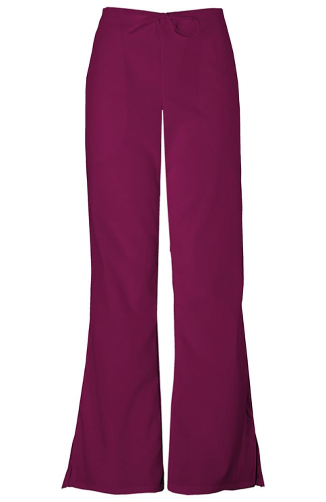 Cherokee Workwear Scrubs 4101 PETITE Low Rise Flare Leg Scrub Pant (Wine, 2XL-Petite)