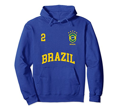 Unisex Brazil Hoodie Number 2 Brazilian Soccer Team Sports T-Shirt 2XL Royal Blue