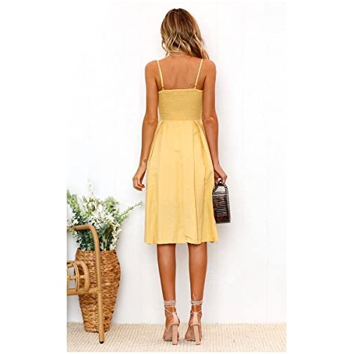 Womens Dress Summer Tie Front Button Down A-Line Backless Swing Midi Dress