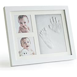 Up & Raise Premium Clay Baby Footprint & Handprint Picture Frame Kit – Safe and Non-toxic Clay | Elegant Glass/Solid Wood | Perfect New Baby Boy/Girl Baby Shower Gift