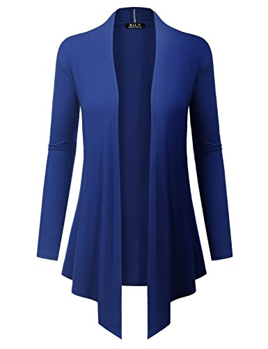 (BH B.I.L.Y USA Women's Open Front Drape Hem Lightweight Cardigan with Pockets Royal)
