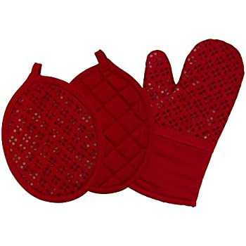 Sticky Toffee Printed Silicone Oven Mitt and Pot Holders, 100% Cotton, 3 Piece Set, Red