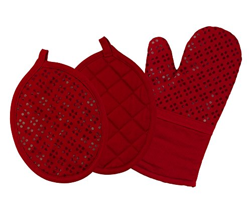 Sticky Toffee Printed Silicone Oven Mitt and Pot Holders, 100% Cotton, 3 Piece Set, (Red Oven Mitt)