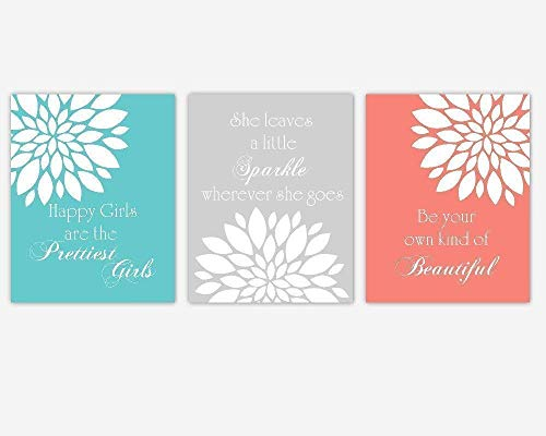 Canvas Wall Art Coral Teal Floral Baby Nursery Decor Set Of -