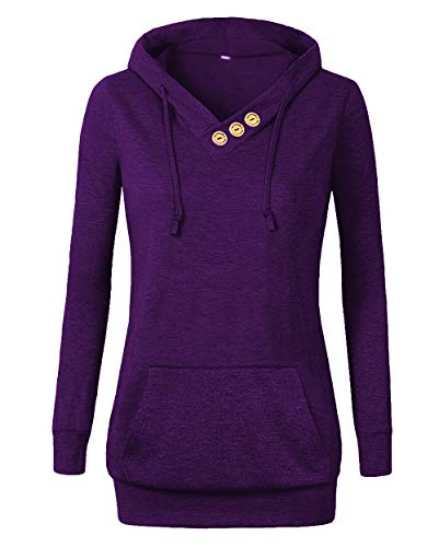 Othyroce Women's Long Sleeve Button V-Neck Pockets Sweatshirts Pullover Hoodies Purple XL