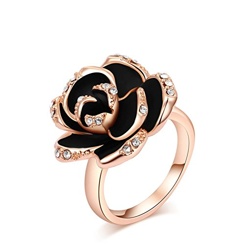 Bling Jewelry Women's Black Flower Engagement Rings Rose Gold /platinum Plated Charm Swarovski Rings (rose-gold-plated-base, 7)