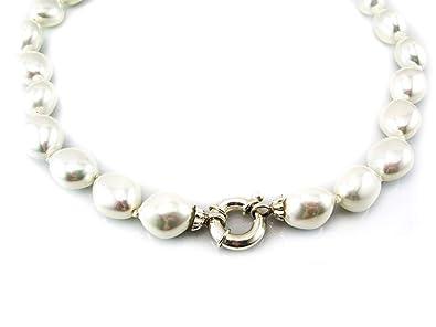 1e3686d6c4a1 Collar de Perlas shell con cierre de Plata de ley  Amazon.es  Joyería