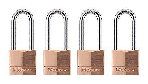 Master Lock Padlock, Solid Brass Lock, 1-9/16 in. Wide, 140QLH (Pack of 4-Keyed Alike)