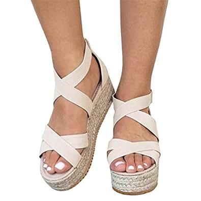 Syktkmx Womens Flatform Espadrille Strappy Open Toe Flat Platform Ankle Sandals Beige