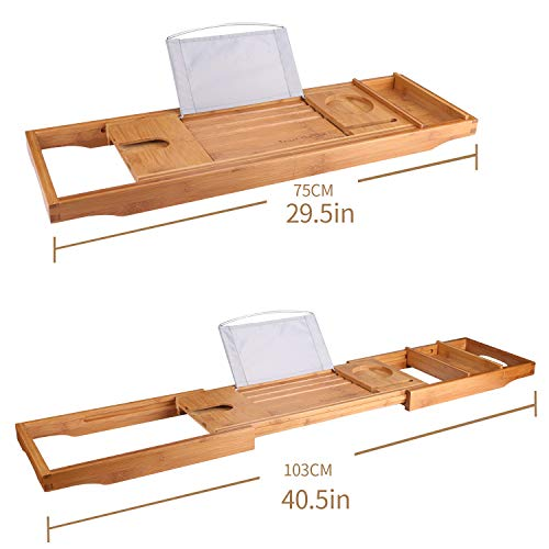 SUNFICON Bamboo Bathtub Caddy Tray with Extending Sides Mug/Wineglass/Smartphone Holder, Metal Frame Book/Pad/Tablet Holder with Waterproof Cloth Detachable Sliding Tray Non-Slip Rubber Base by SUNFICON (Image #6)