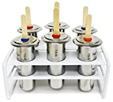 Metro 18/8 Stainless Steel Popsicle 6 Piece Mold and Rack Set - Includes 30 Re-usable Bamboo Sticks