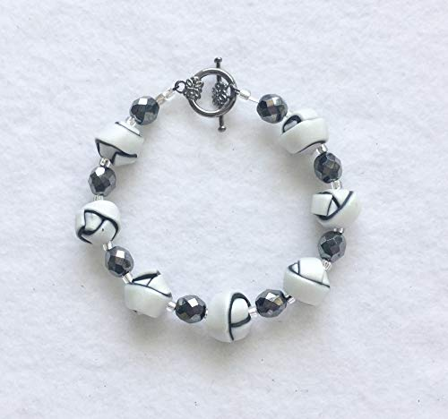 - Pearl White and Black Strip Ball Bracelet Handcrafted Polymer Clay Toggle Clasp Lightweight