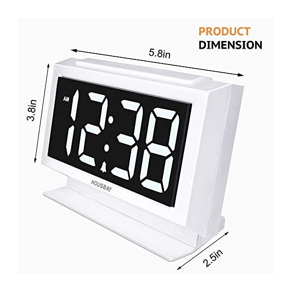Housbay Digital Alarm Clocks for Bedrooms - Handy Night Light, Large Numbers with Display Dimmer, Dual USB Chargers, 12/24hr, Outlets Powered Compact Clock for Nightstand, Desk, Shelf - 【LARGE 5.3'' LED DISPLAY WITH 1.8'' JUMBO DIGITS】- This large led display makes it easy for anyone to check the time from across the room. The full range dimmer facilitates time viewing at all times. Great choice for your bedside and kids' room 【HANDY 2-COLOR NIGHT LIGHT】- White and orange. The brightness-adjustable night light will come in handy especially for baby's nighttime feedings and diaper changes, comforting child to sleep with gentle light on and lighting up the path to bathroom 【HANDY DUAL USB CHARGERS】- It comes with dual USB ports at the back to charge your phones, tablets, or other 5V electronics - clocks, bedroom-decor, bedroom - 417roAtE5IL. SS570  -
