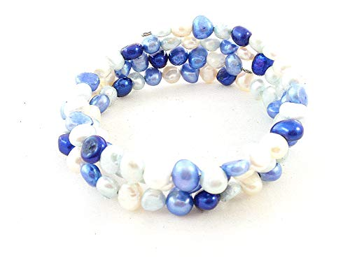 (The Island Pearl Mixed Color Blue and White Freshwater Pearl Bracelet)