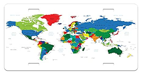 Amazon.com: Ambesonne World Map License Plate, Colorful ... on license plate colors, license plate france, license plate malaysia, license plate water, license plate numbers, license plate mexico, license plate russia, license plate singapore, license plate italy, license plate clock, license plate art, license plate collection, license plate search, license plate germany, license plate united states, license plate syria, license plate china, license plate games, license plate country, license plate south africa,