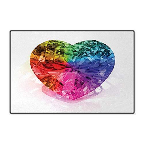 Diamond,Door Mats,Heart Shape Colorful Diamond Valentines Love is Precious Romance Marriage Couples Print,Bath Mat Bathroom Mat with Non Slip,Multi 32