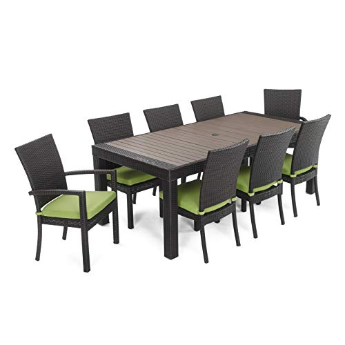 RST Brands Deco 9-Piece Dining Set with Cushions, Ginkgo - Deco Dining Set