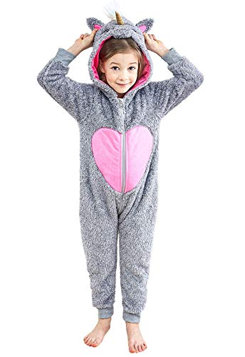 Anna King Kids Animal One-Piece Pajamas Costume Hooded Cosplay Onesies Plush Sleepwear for Girls & Boys Raccoon Size 2]()
