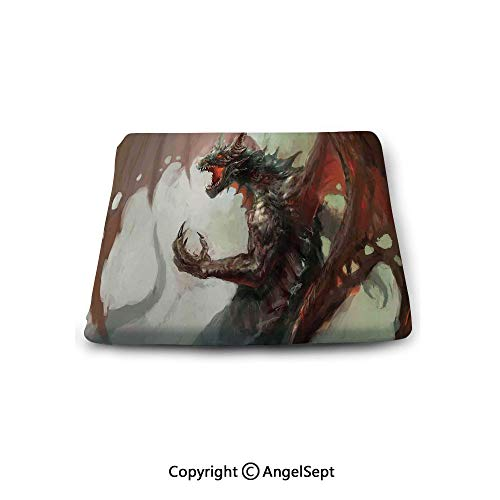 Double Sided 14' Pillow - Non-Slip Cushion Square Chair Pad,Medieval Decor,Ilustration of Mythological Legendary Creature Dragon Imaginary Culture Animal Art Work,Grey Red, Indoor Outdoor Chair Cushions