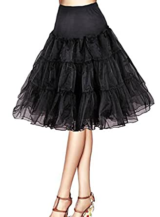 "Tidetell Vintage Women's 50s Rockabilly Tutu Skirt 26"" Length Petticoat Black S(FBA)"