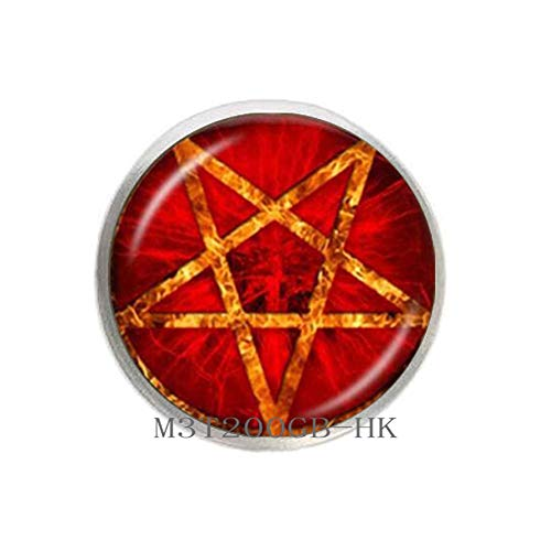 Botewo0lbei Red Pentagram Brooch Inverted Pentacle Pin Wiccan Jewelry Glass Cabochon Star Sweater Brooch-MT270 (W1)