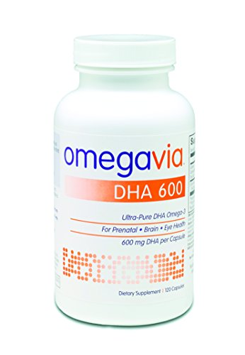 OmegaVia DHA 600. Ultra-Pure DHA Omega-3. 600 mg DHA per pill. Triglyceride-form DHA-only formula. 120 Capsules.