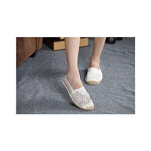Mujer hueco zapatos casuales transpirable/Pone un pie comodos zapatos planos Blanco
