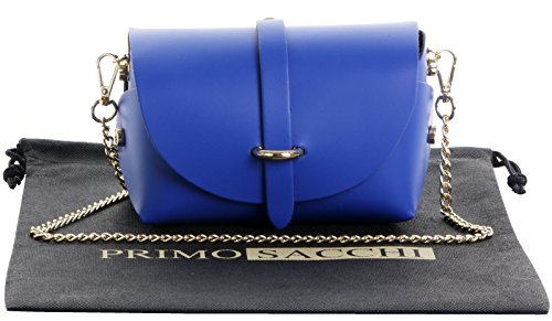(Primo Sacchi Italian Leather Mini Small Micro Royal Blue Shoulder Cross body Evening Bag With Metal Chain Strap)