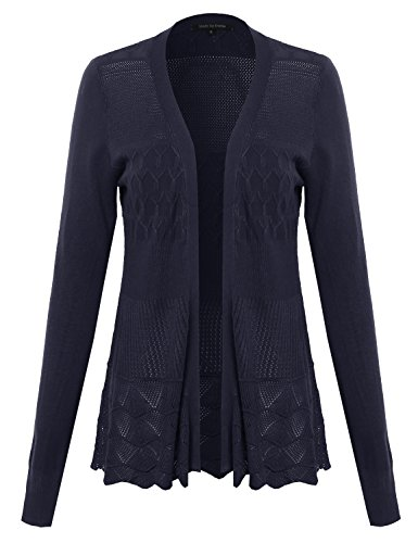 Lace Patterned Long Sleeves Cardigan Navy S
