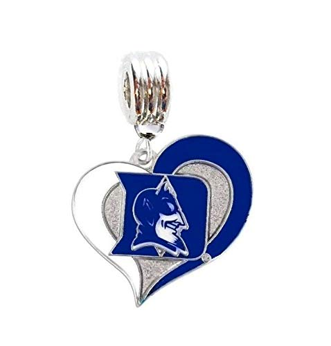 Heavens Jewelry DU Duke University Blue Devils Charm Slider Pendant for Your Necklace Charm Bracelet (Fits Most Name Brands) Shoe Laces DIY Projects ETC
