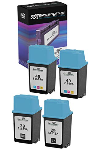 Speedy Inks - 4PK Remanufactured Replacement for HP 29 HP 49 51629A 51649A 2ea Black & Tri-Color Ink Cartridge Set