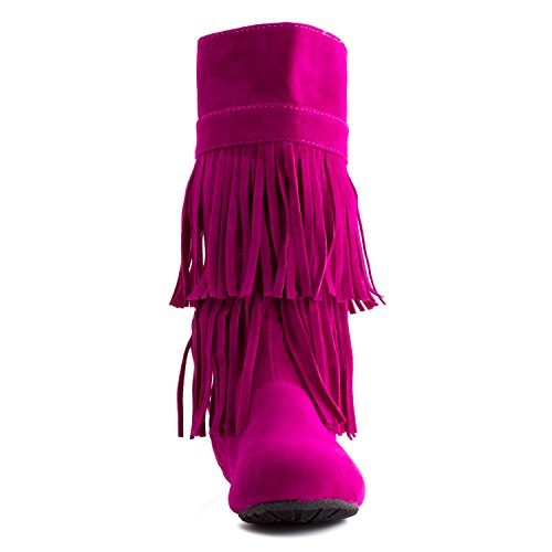 Kali Womens 2 Layer Fringe Faux Suede Boots (Adults) Hot Pink sGjx6z