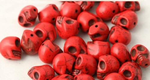 Beautiful Bead 20pcs 12mm Red Gemstone Beads Carved Skull Beads