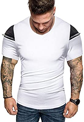 Tops o neck summer men/'s short sleeve t shirt muscle tee slim fit blouse casual