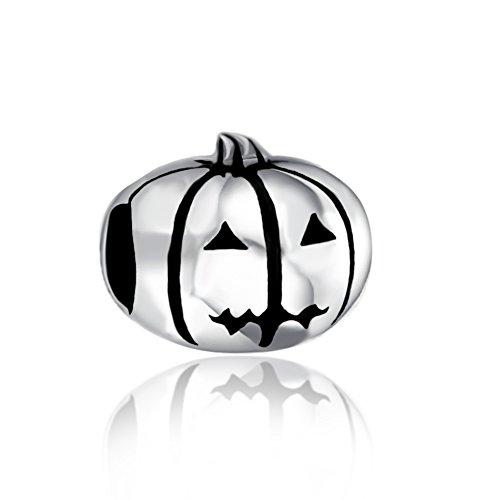 (Pumpkin Halloween Holiday 925 Sterling Silver Charm Bead Fit European European Charms Bracelet)