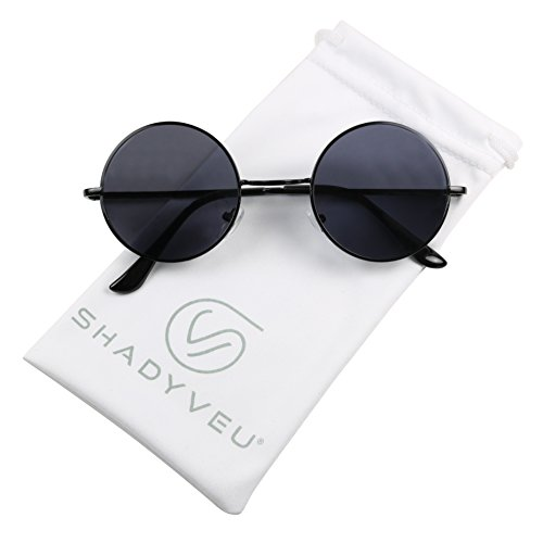 ShadyVEU - Retro Colorful Tint Lennon Style Round Groovy Hippie Wire Sunglasses (Black Lens, ()