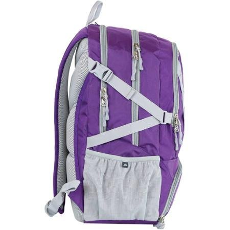 Ozark Trail 35L Choteau Heavy-duty Ripstop Material, Hydration-compatible, Multiple Storage Compartment, Daypack Backpack with 2 Water Bottle Pockets- Purple/Grey