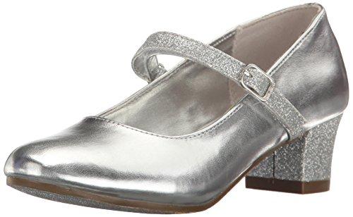 Nine West Girls' Patrece Heel, Silver, 6 M US Big (Youth Silver Leather Footwear)