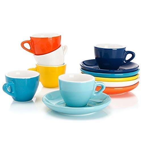 Sweese 4305 Porcelain Espresso Cups with Saucers - 2 Ounce - Set of 6, Hot Assorted Colors