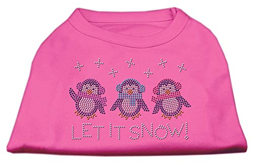Mirage Pet Products 10-Inch Let it Snow Penguins Rhinestone Print Shirt for Pets, Small, Bright Pink