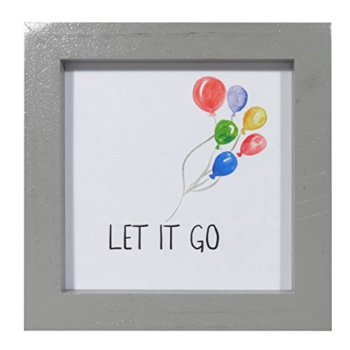 NIKKY HOME Wood Framed Wall Art Poster Prints Colorful Balloons Inspirational Quote Let it ()