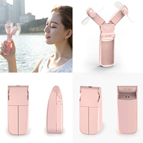 M.C.works Dual Head Mini Handheld Fan, Personal Portable Fan USB, Small Pocket Foldable Desk Fan for Home Office Traveling Or Hiking, Lithium Battery Operated Rechargeable Patented Degisn, Pure Pink.
