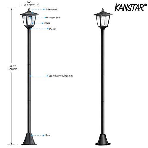 Kanstar 70'' LED Adjustable Solar Powered Vintage Street Lamp Post Light  for Outdoor Lanscape Pathway Street Patio Garden Yard