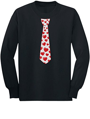 Red Hearts Tie for Valentine's Day Love Youth Kids Long Sleeve T-Shirt Small Black
