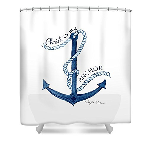 Pixels Shower Curtain (74'' x 71'') ''Beach House Nautical Ship Christ Is My Anchor'' by Pixels