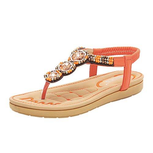 (Sandals for Women ❤ Boho Rhinestone Platform Sandles Comfy Flip Flops Slip On Clip Toe Slipper Wide Width Summer Sameno Orange)