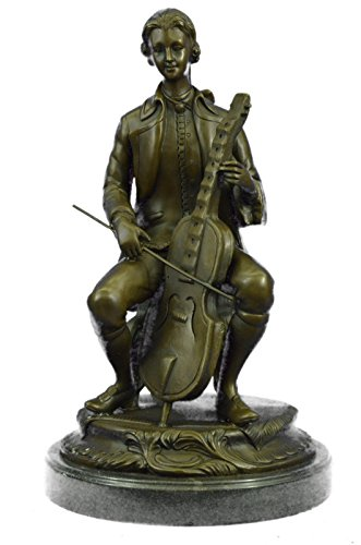 Handmade European Bronze Sculpture Large size Man playing music statue with musical instruments cello Player Bronze-UKYRM-048-Decor Collectible Statues Gift ()