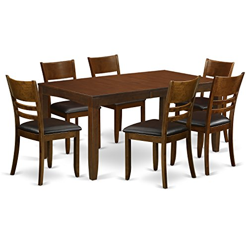 East West Furniture LYFD7-ESP-LC 7-Piece Dining Table Set, Espresso Finish